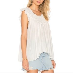 We the free people smocked coconut ruffle blouse